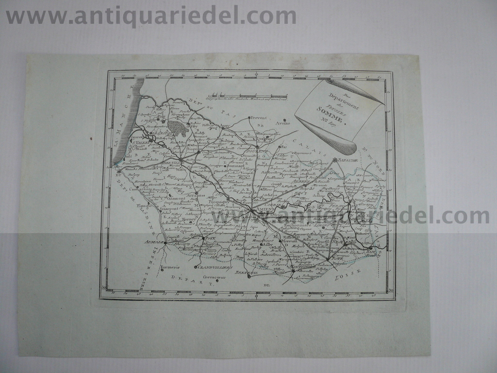 Departement Somme--Amiens, anno 1806, map, Reilly