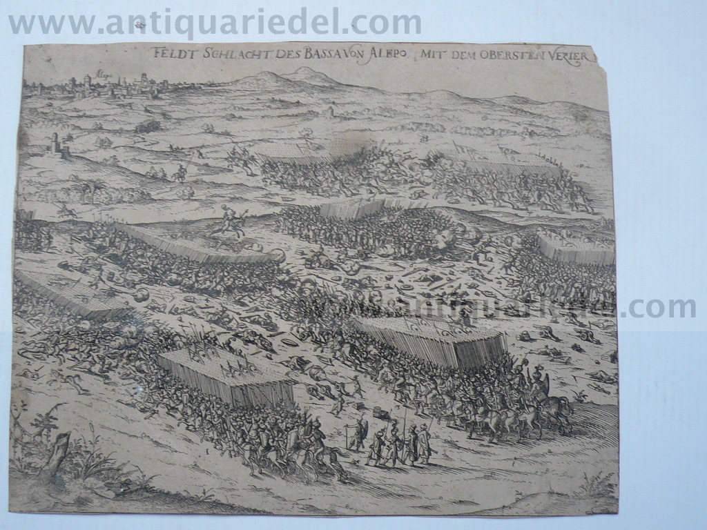 Aleppo, anno 1650, Battle, copperengraving
