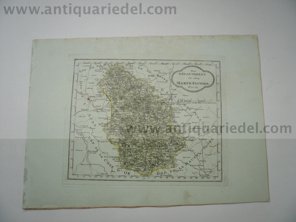 Haute Marne, anno 1806, map, old colours, Reilly