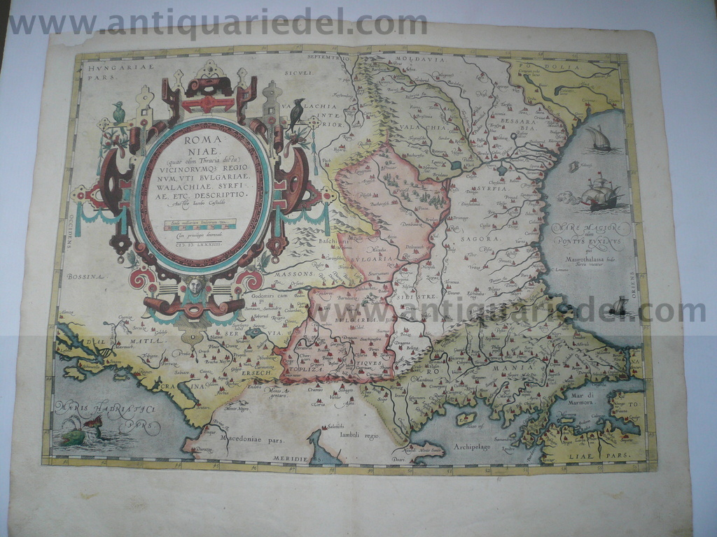 Romaniae/Bulgariae/map, anno 1584, Ortelius, contemporary colour