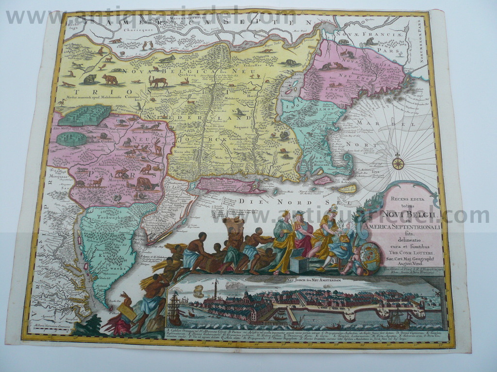 New York, East coast, anno 1760, contemporary coloured map, town