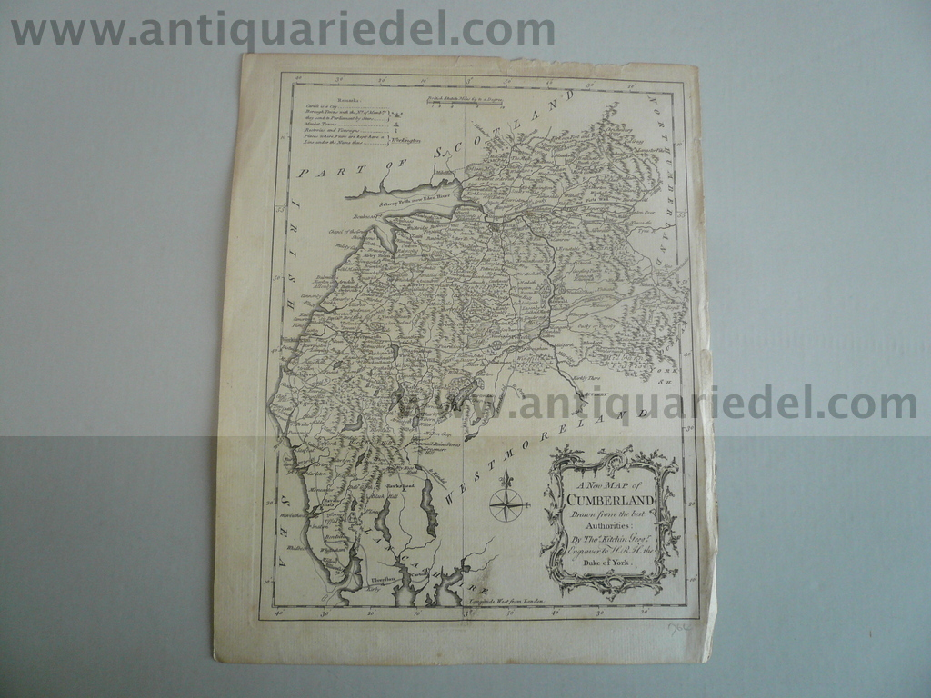 A New Map of Cumberland, anno 1764, Kitchin Thomas