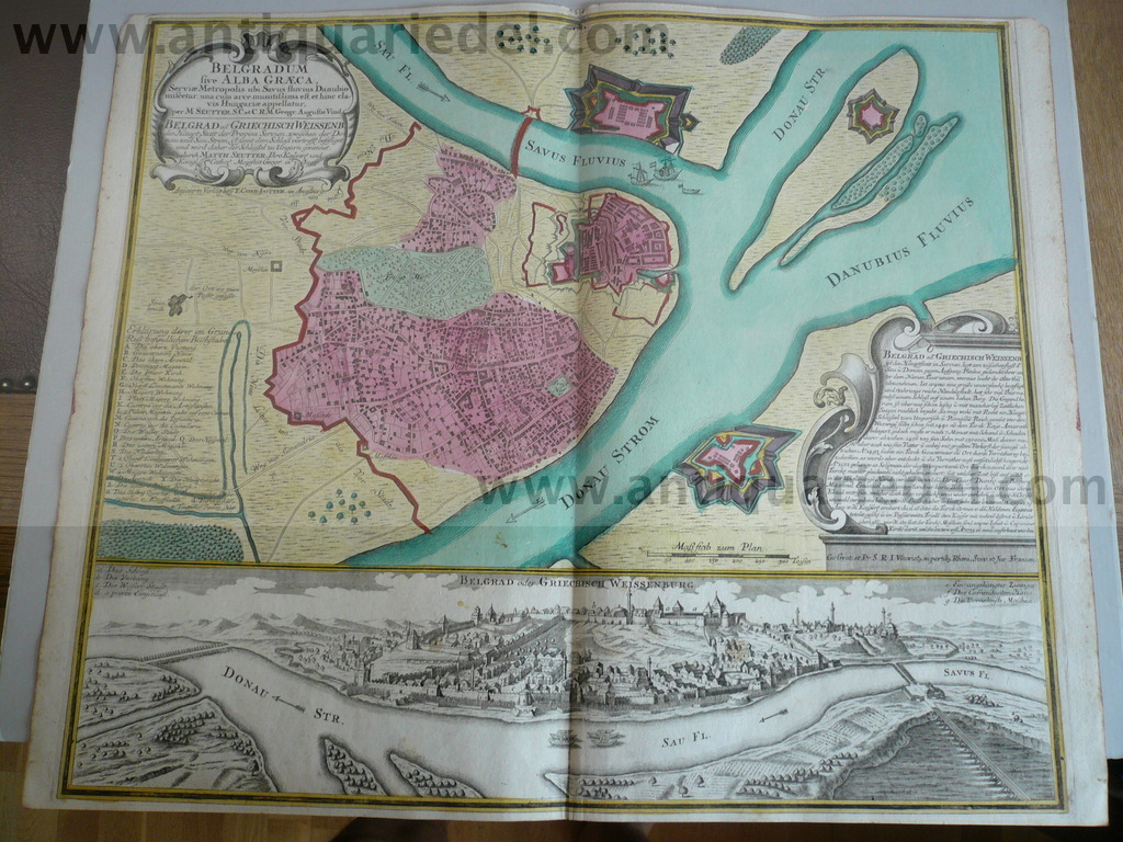 Belgrad, Plan+Panorama, Seutter/Lotter, 1760, old colours Copper