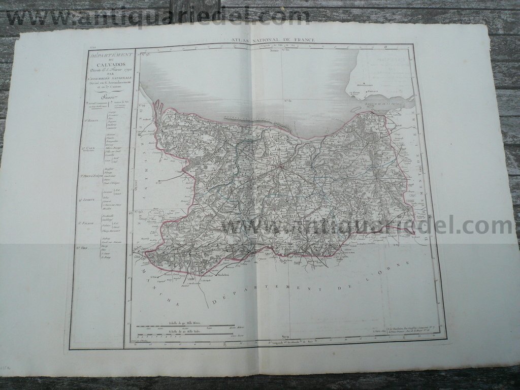 Departement du Calvados. 1790 par L'Assemblee Nationale. Map, Nr