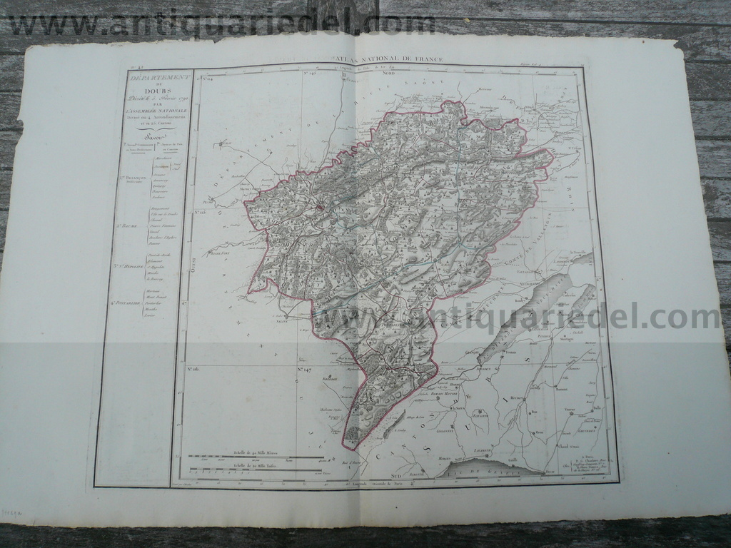 Departement du Doubs. 1790 par L'Assemblee Nationale. Map, Nr. 4