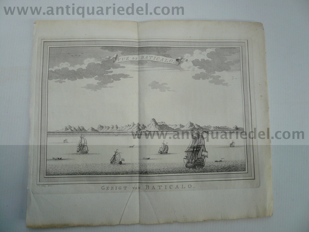 Batticaloa, Sri Lanka, Kupferstich, anno 1770--Copperengraving,