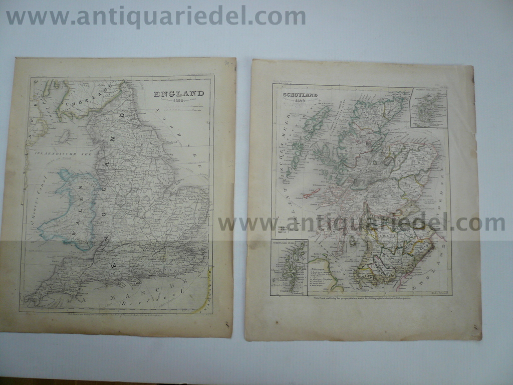 England+Scotland, anno 1850, 2 steelengravings