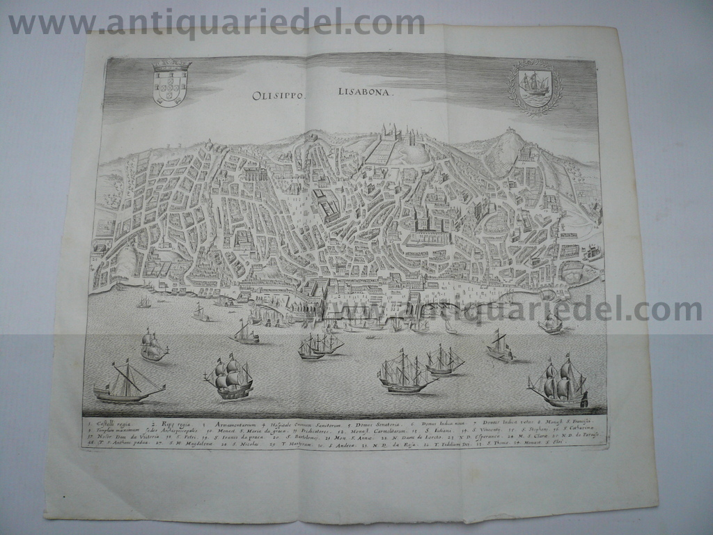 Lissabon, anno 1646, Merian M Copperengraving, edited by Merian