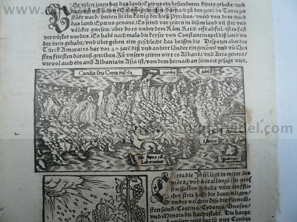 Crete, woodcut, anno 1550, Münster S Woodcut, edited by Sebastia