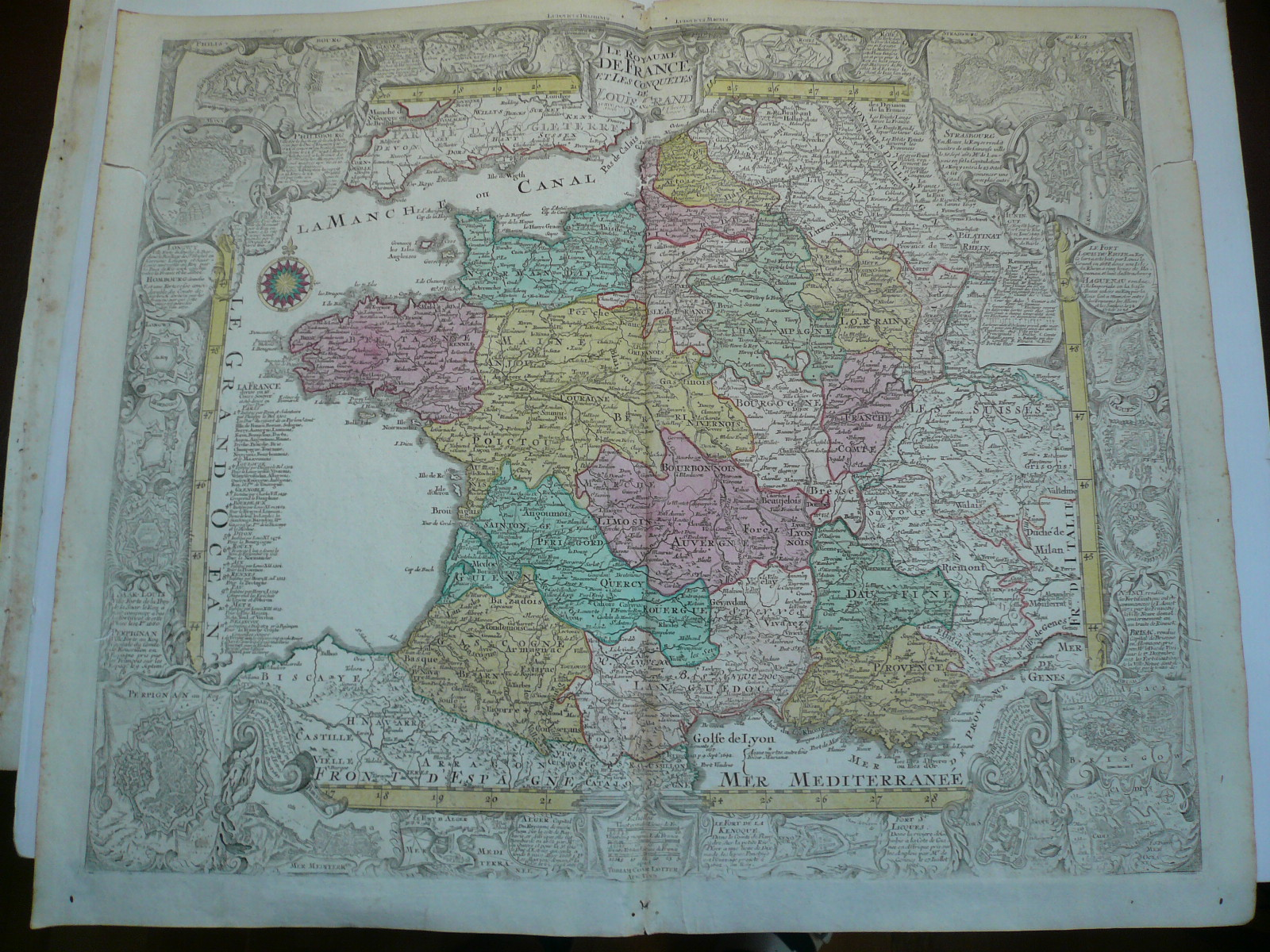 France, anno 1760, decorative map, Lotter, old colours LOTTER, T