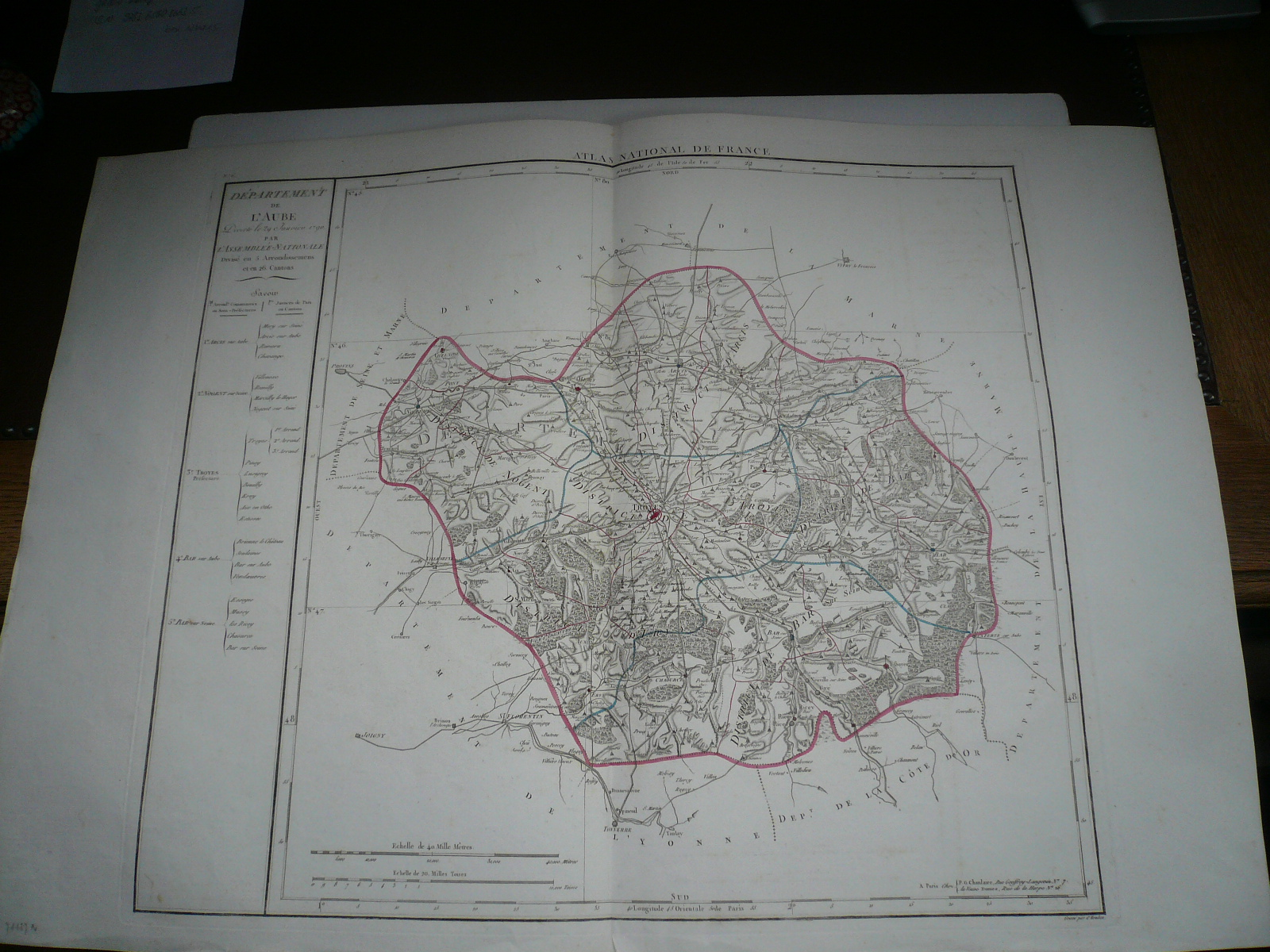 Departement de L AUBE, anno 1790, map, Atlas National