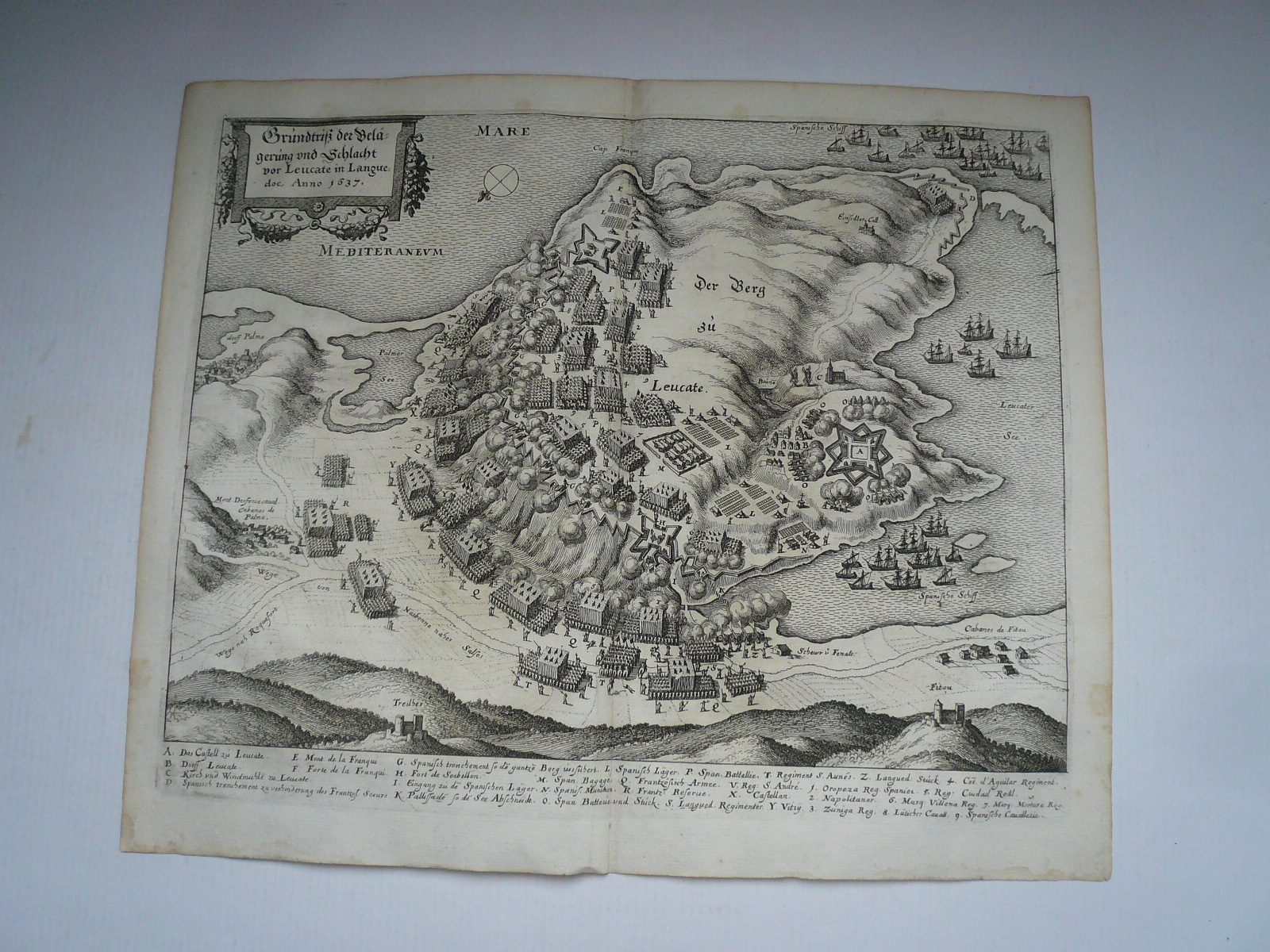 Leucate, anno 1660, Merian Matthäus Copperengraving, edited by M