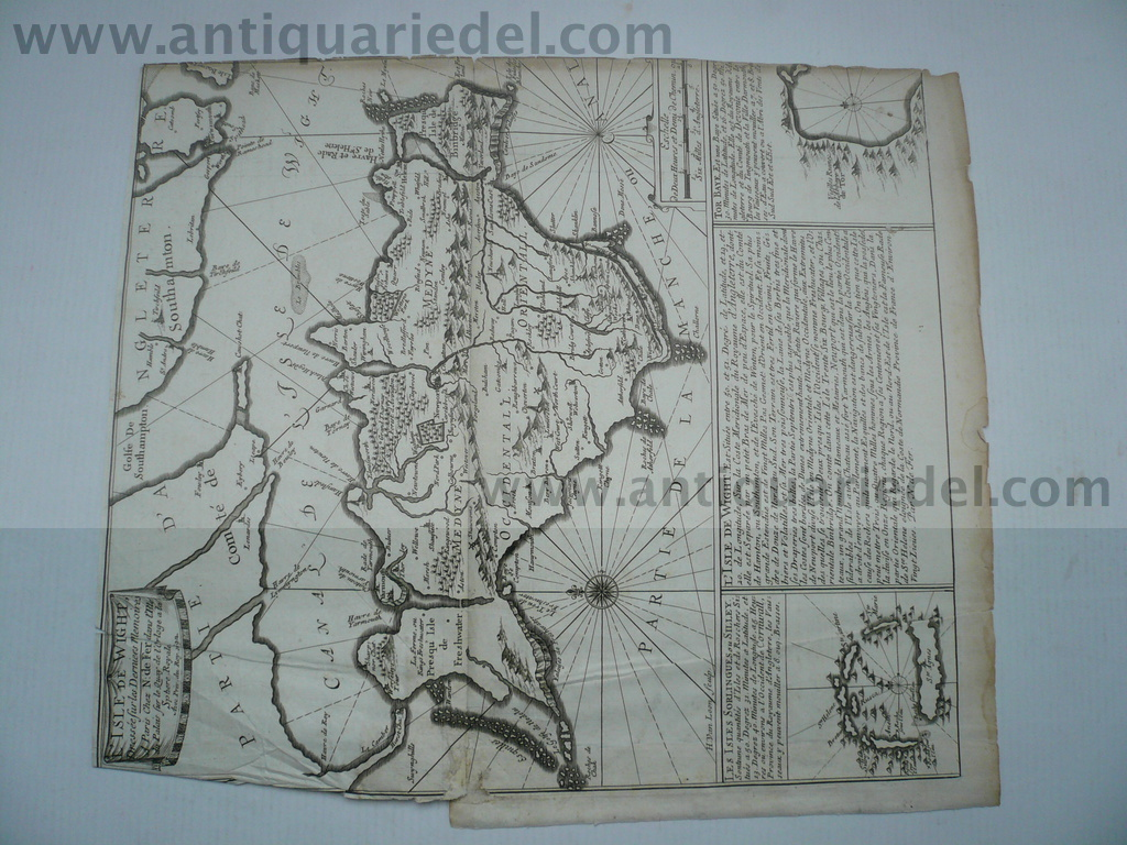 Isle of Wight, anno 1692, map, Nicolas de Fer