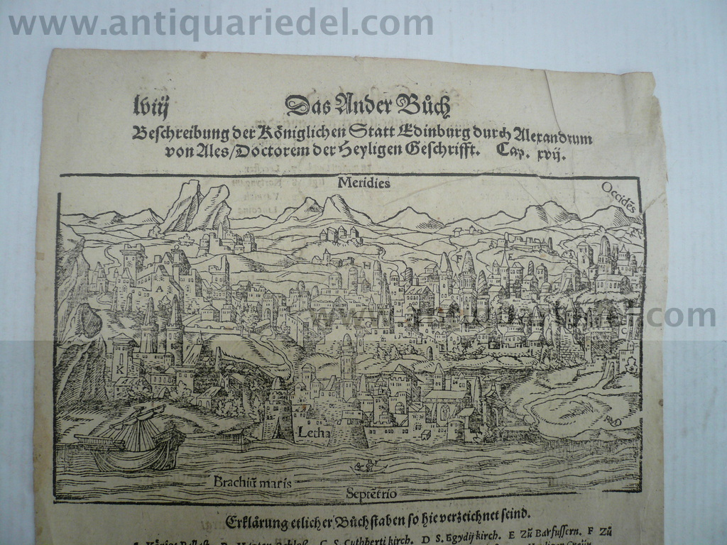Edinburgh, anno 1570, woodcut, S. Münster Woodcut, edited by Seb