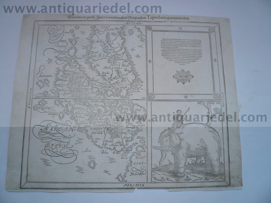 Sumatra, anno 1620, Münster Sebastian map, Java Woodcut edited b
