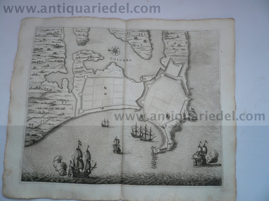 Colombo, anno 1672, map of the fort, Baldaeus
