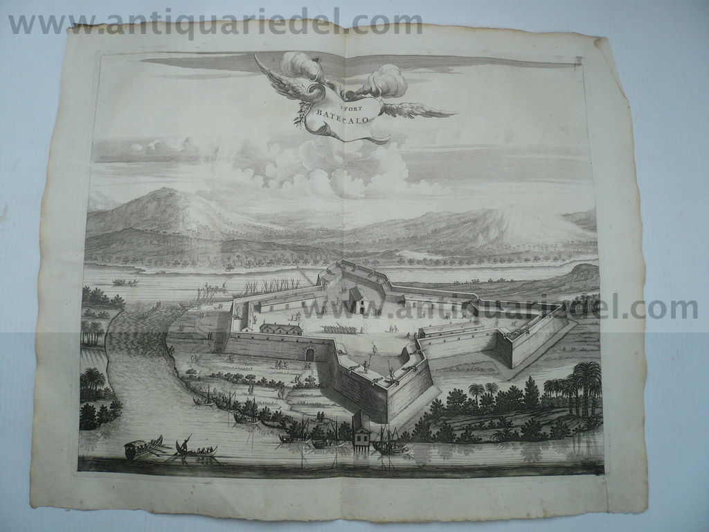 Fort Batecalo, Sri Lanka , Baldaeus, anno 1672 Antique plan of F