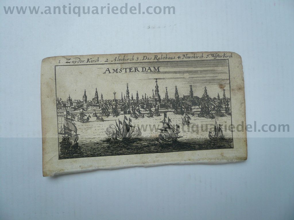 Amsterdam, anno 1686, Riegel, copperengraving, 6x11 cm..