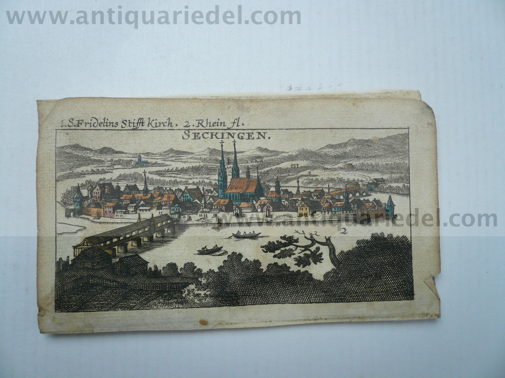 Bad Säckingen, anno 1686, Riegel, copperengraving, 6x11 cm..Mit