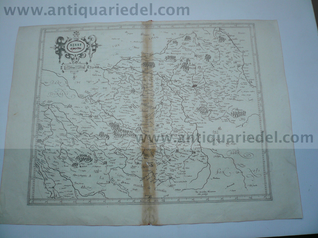 Berry Ducatus, anno 1600, map, Mercator,  Coppermap, size of the