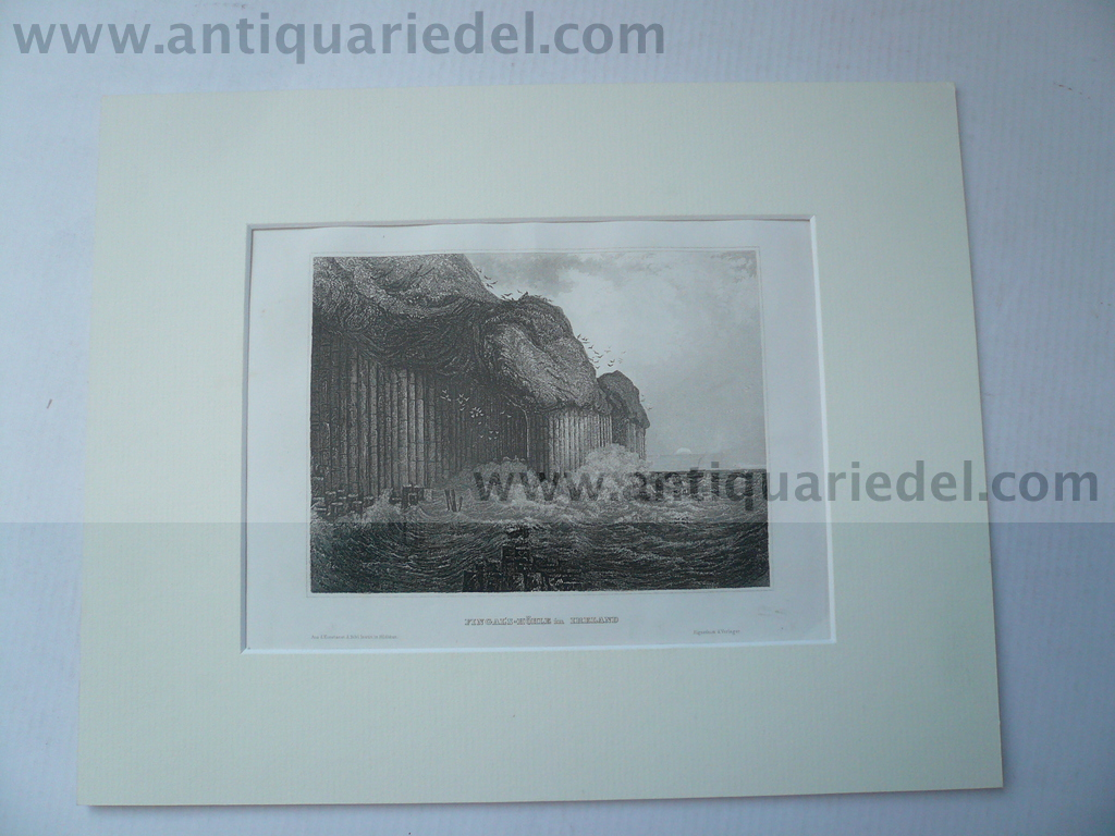 Fingal`s Cave, anno 1859, steelengraving