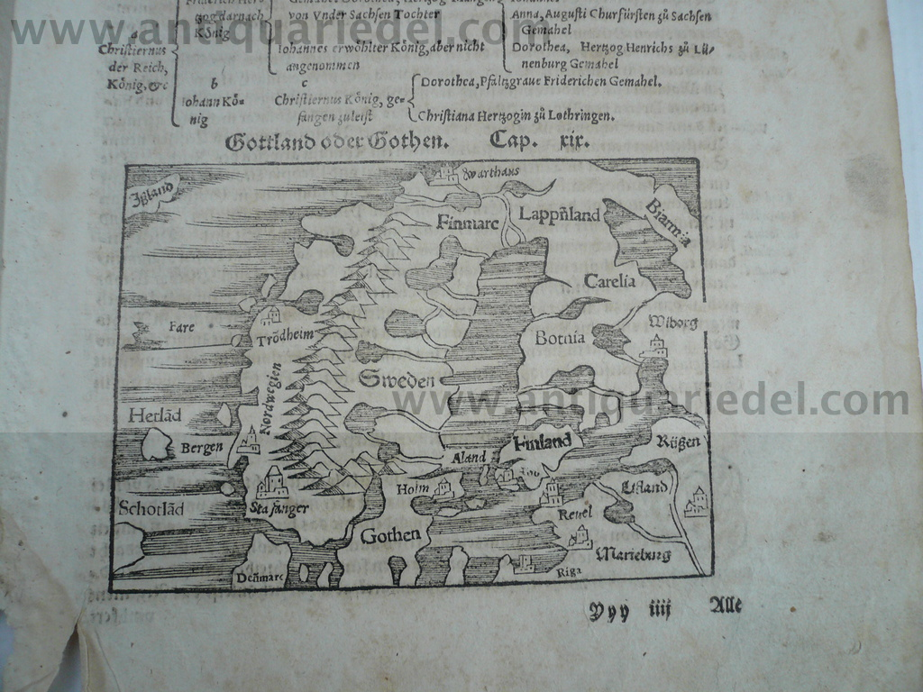 Norway,Baltic States,anno 1550, woodcut, Münster Sebastian Woodc