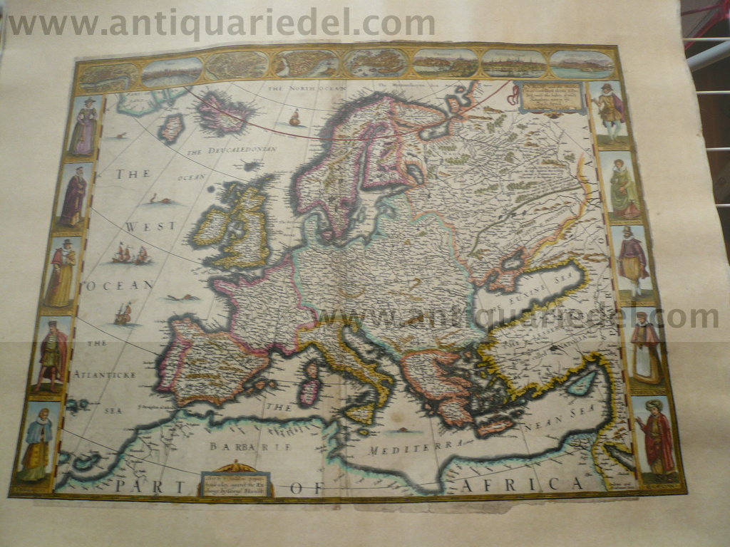 Europ and the cheife Cities, Speed, 1626, map Coppermap, edited