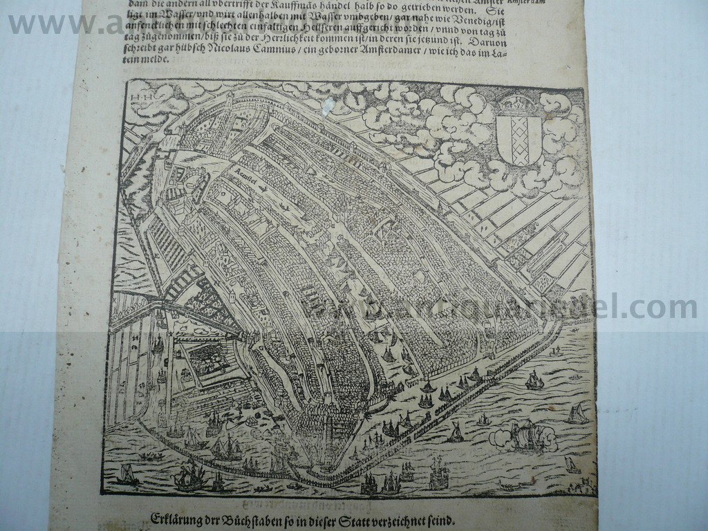 Amsterdam, anno 1590, S. Münster, woodcut Woodcut, edited by Seb