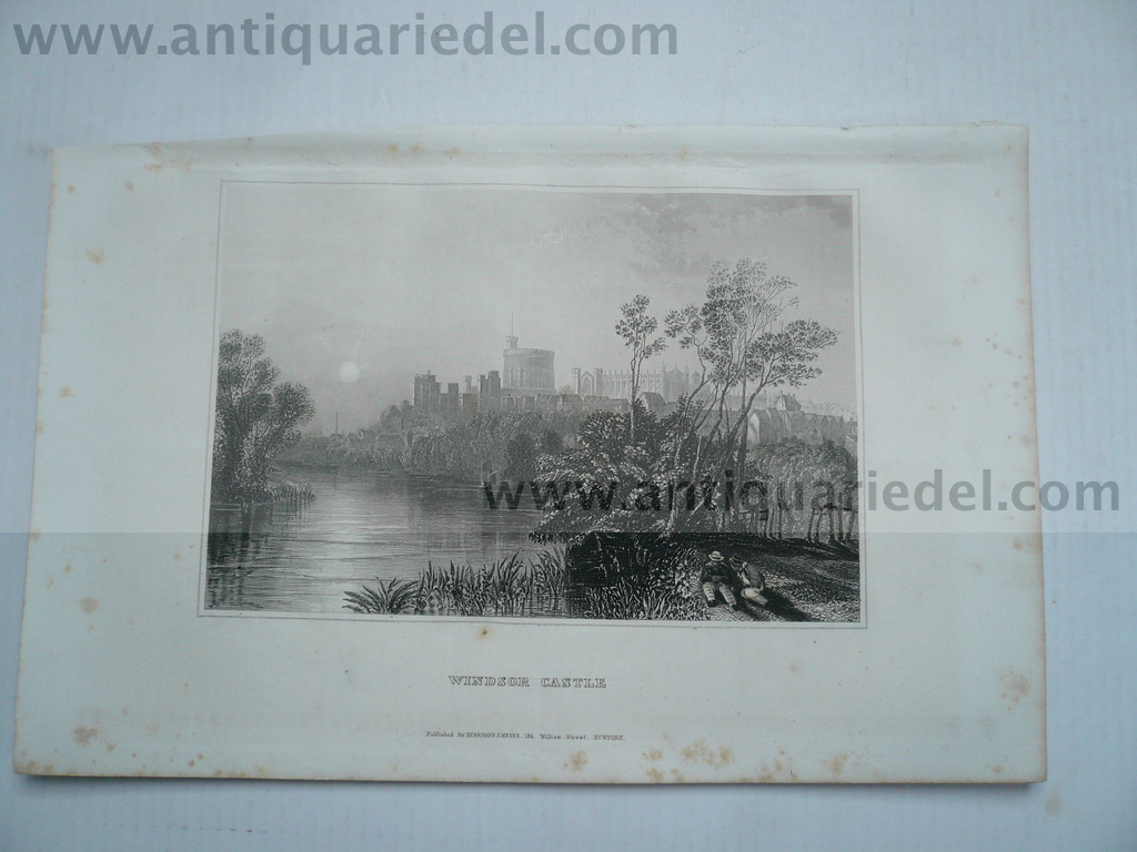 Windsor Castle, anno 1850, steelengraving, plate: 10x14 cm..