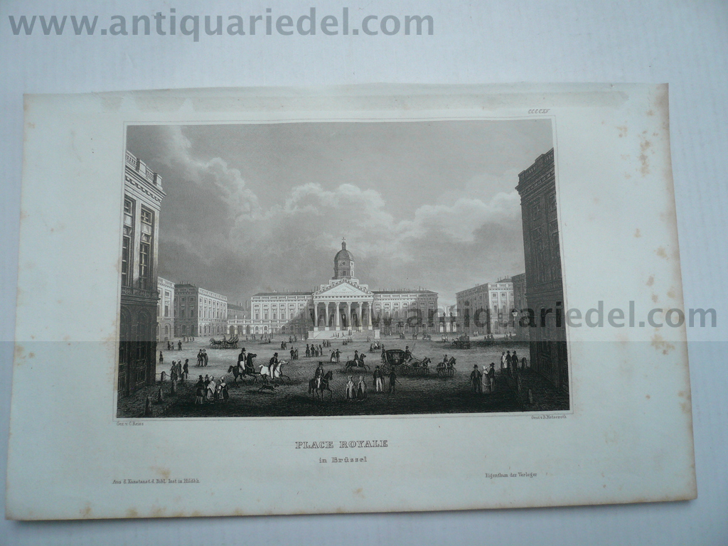 Brussels, place Royale, anno 1850, steelengraving
