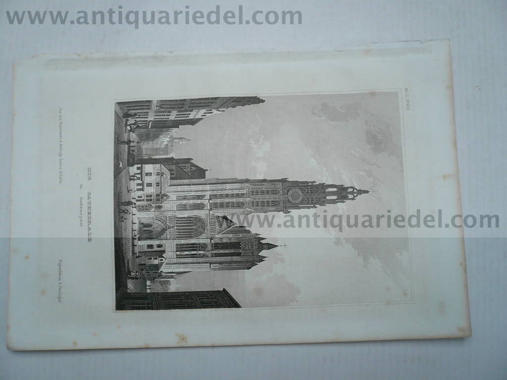 Antwerpen, anno 1850, steelengraving, plate size: 15x10 cm..