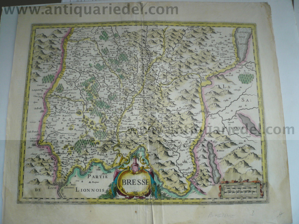 Bresse, anno 1636, antiquarian map, Hondius-Janssonius