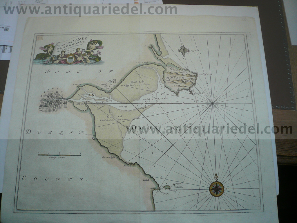 Dublin Bay, anno 1770, sea chart, Collins Grenadille, old colour
