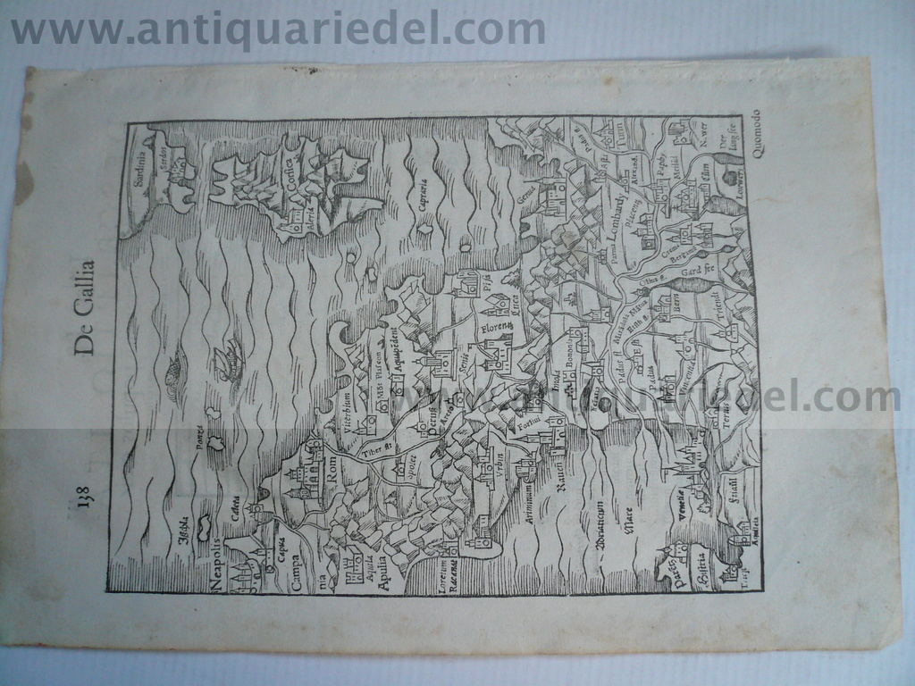 Italy/Corsica, map, anno 1550, Sebastian Münster Woodcut, edited