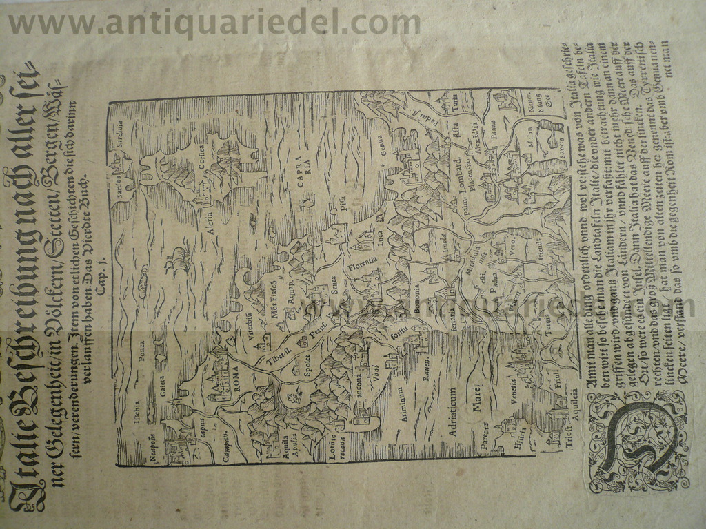 Italy/Corsica, map, anno 1580, Sebastian Münster Woodcut, edited