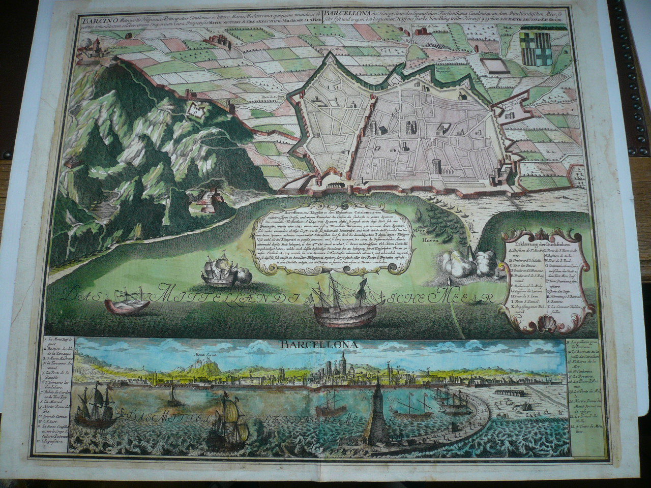 Barcelona/Barcino, anno 1730, Seutter M., plan+panorama Copperen
