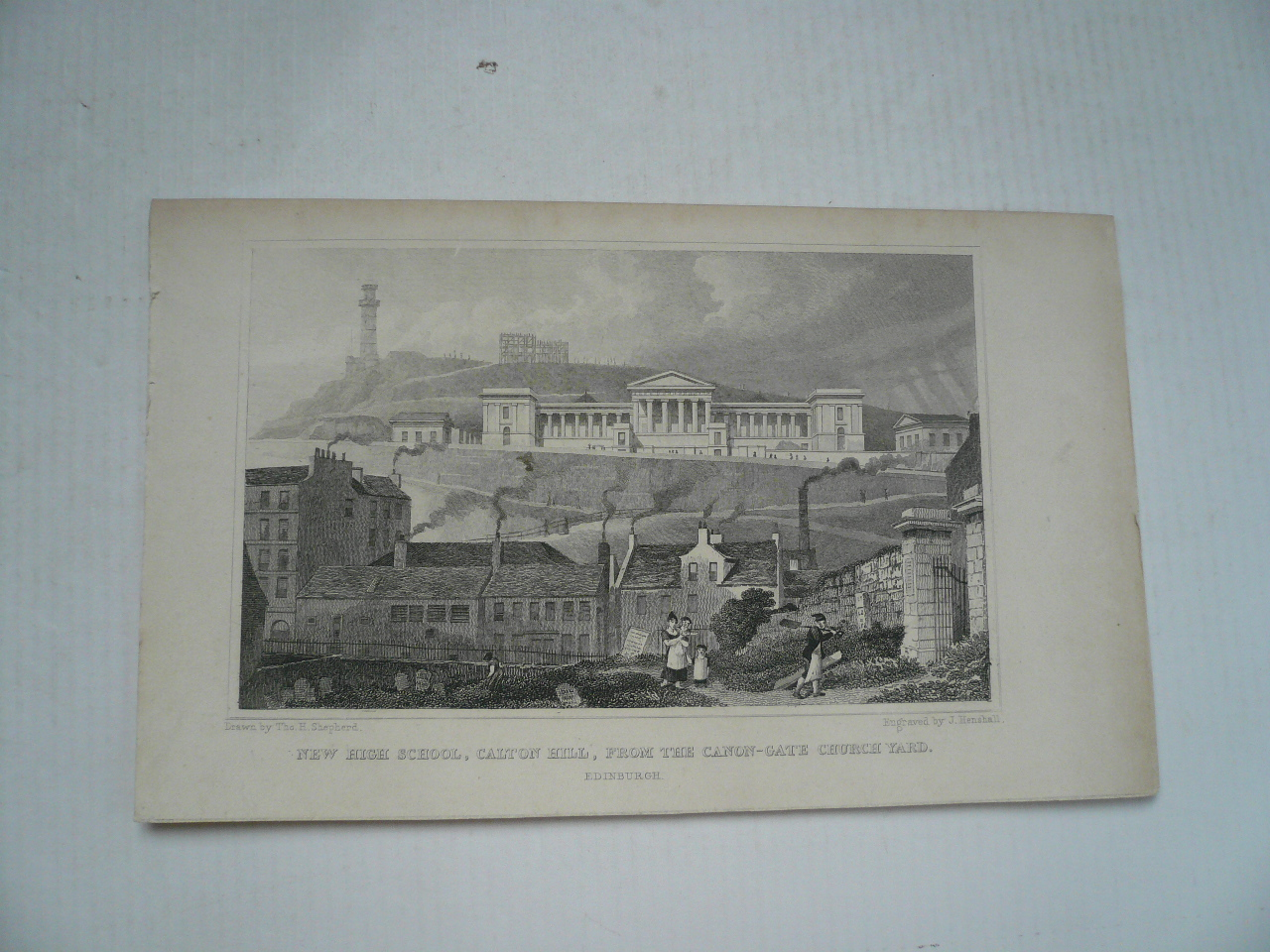 Edinburgh, anno 1850, steelengraving, New High School