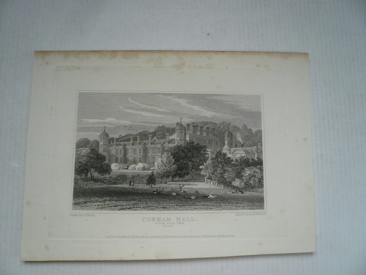Cobham Hall, Kent, anno 1850, steelengraving