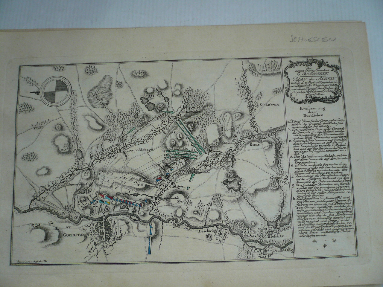 Battle of Moys, anno 1757, copperengraving, Friedrich Iacob