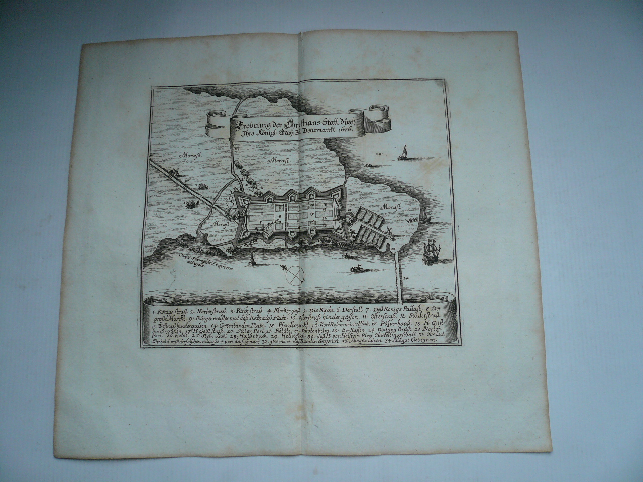 Christianstad, anno 1676, capture of, copperengraving, Merian Ma