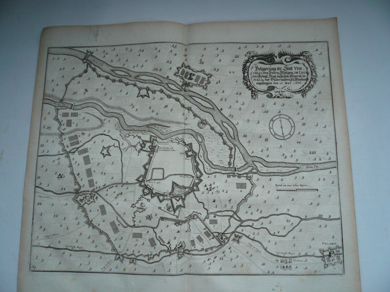 Vercelli, siege of 1638, copperengraving, Merian Matthaeus
