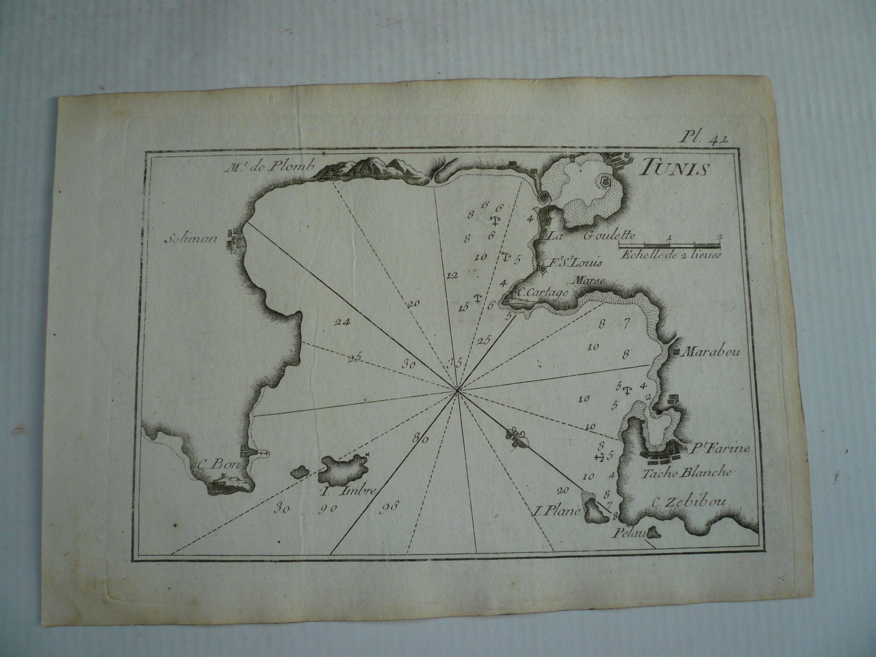 Tunis, nautical map, anno 1795, Roux J., size: 12x18 cm..