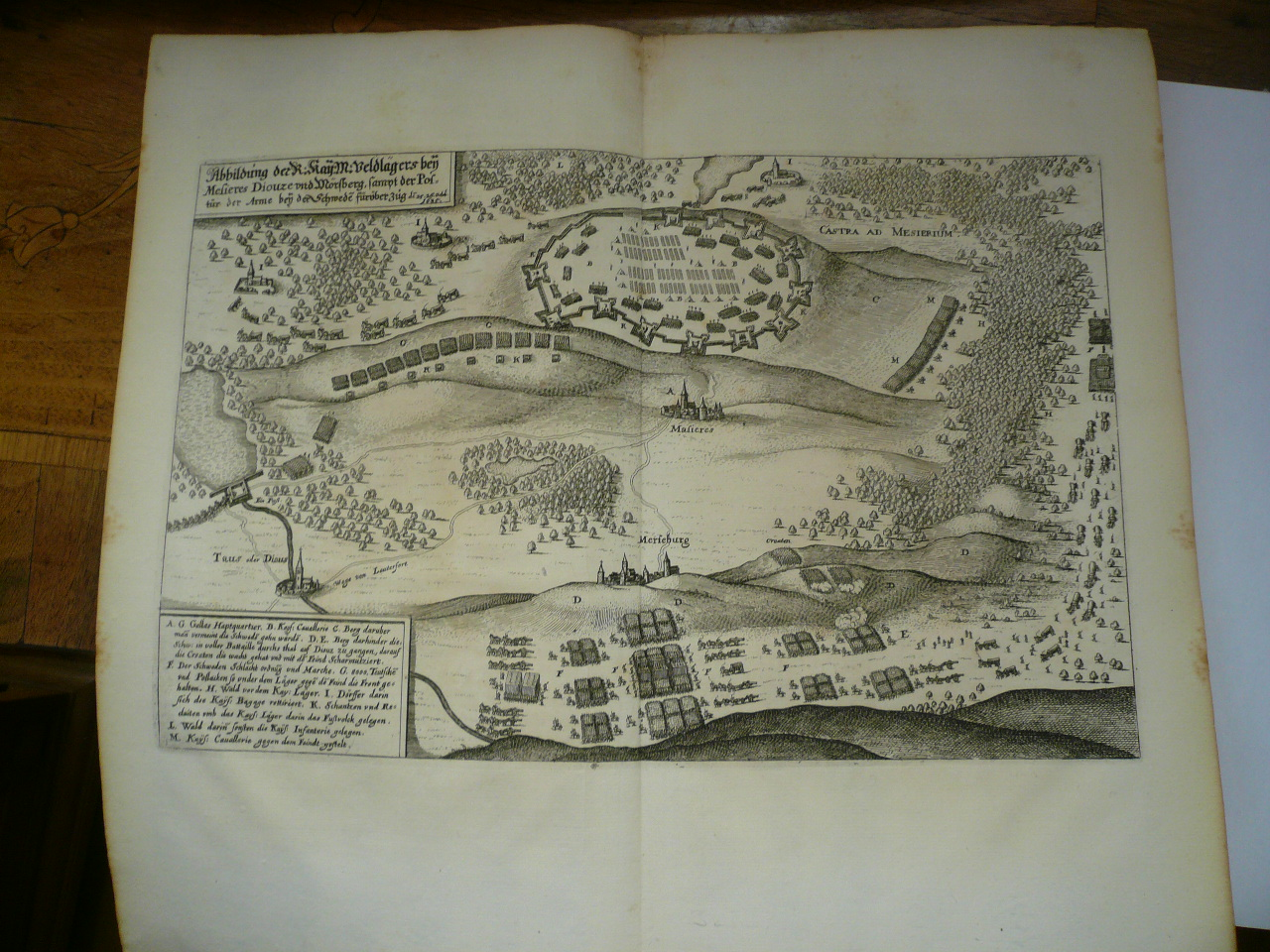 Maisieres/Merseburg, anno 1650, Merian, copperengraving
