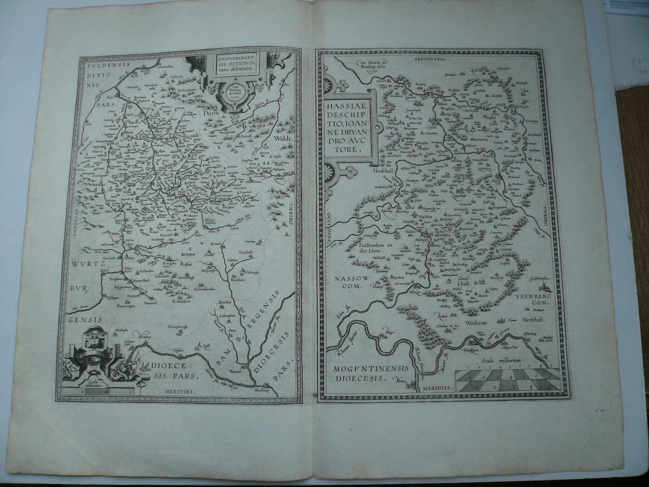 Hennebergensis+Hassia, anno 1595, Ortelius A., lat. ed. 2 Kupfer