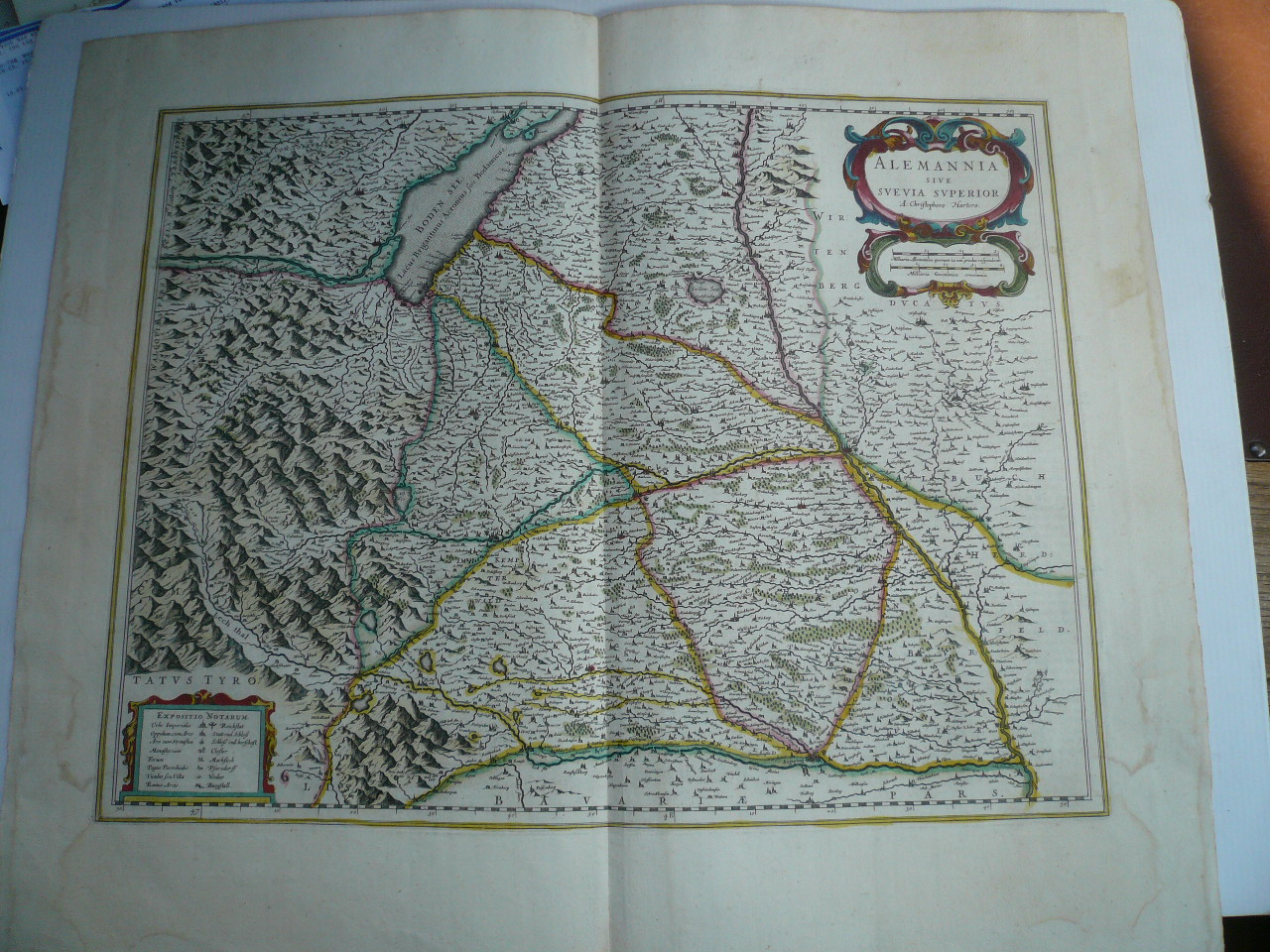 La Suevie, Blaeu, anno 1642, Karte Nouvel Atlas