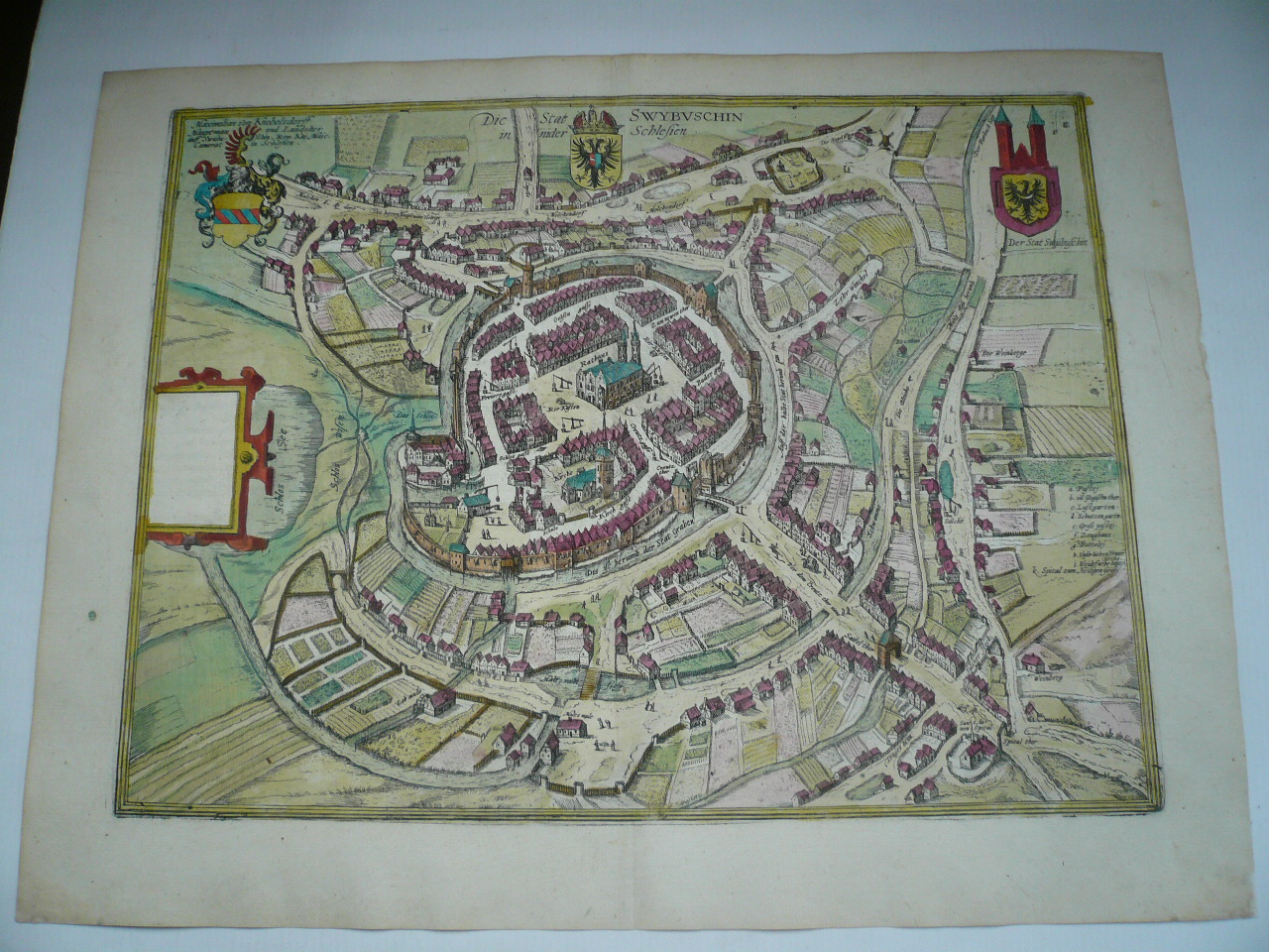 Swiebodzin, Poland, anno 1598, Braun Hogenberg, coloured townvie