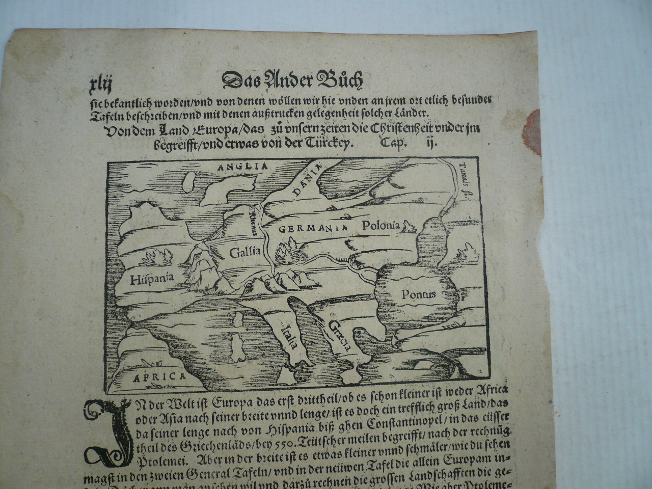 Europe, generalmap, Münster S. anno 1570 Woodcut, edited by S. M