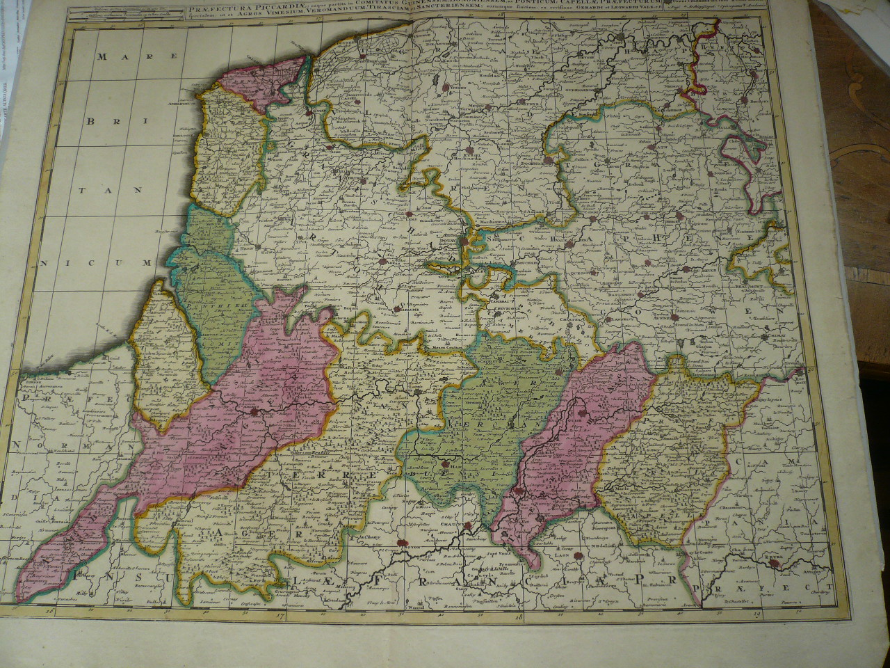Picardia, map, Valk anno 1700, old colours Coppermap, edited by