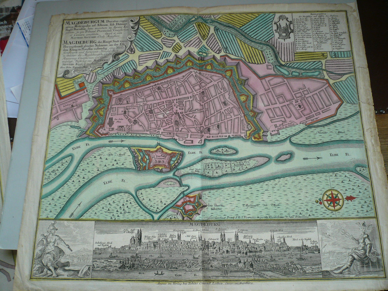Magdeburg, Plan+Panorama, anno 1770, Lotter T.C., altkoloriert