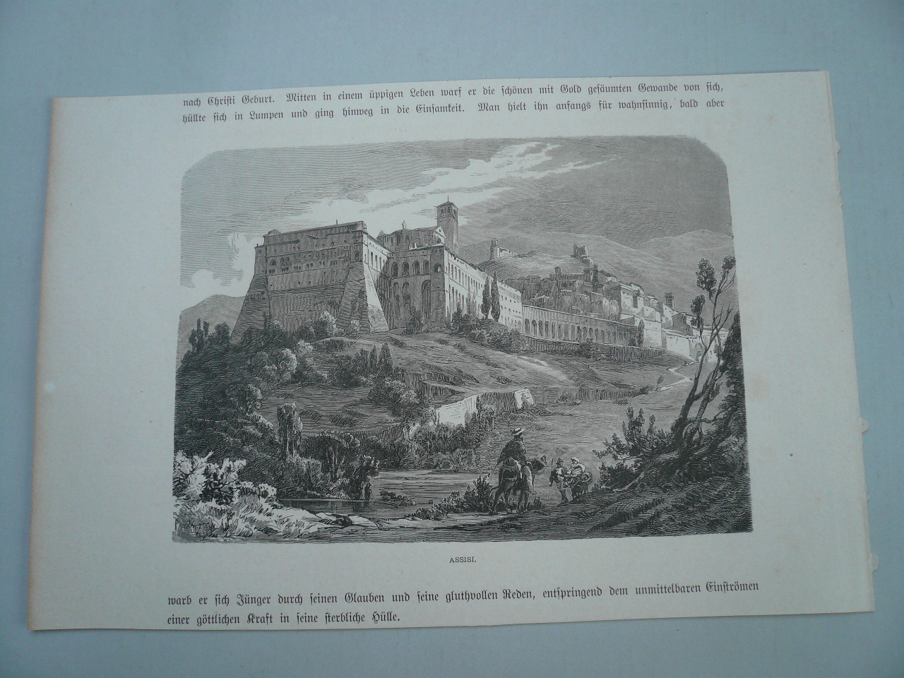 Assisi, anno 1880, Holzstich, 13 x 19 cm...
